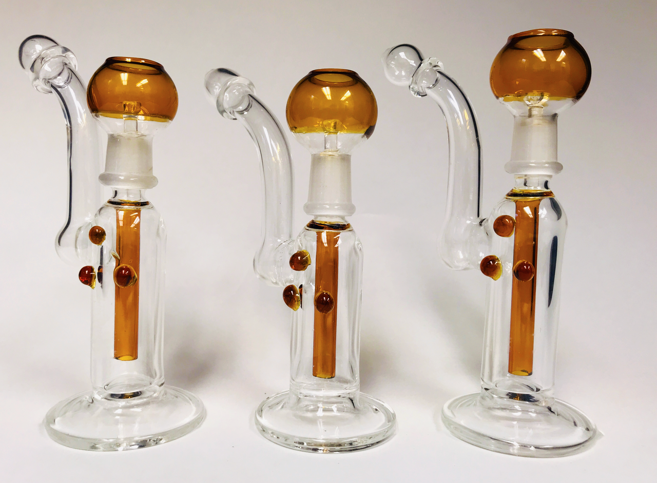 "Dotted Bubbler (Amber Color) 6"" Waterpipe"
