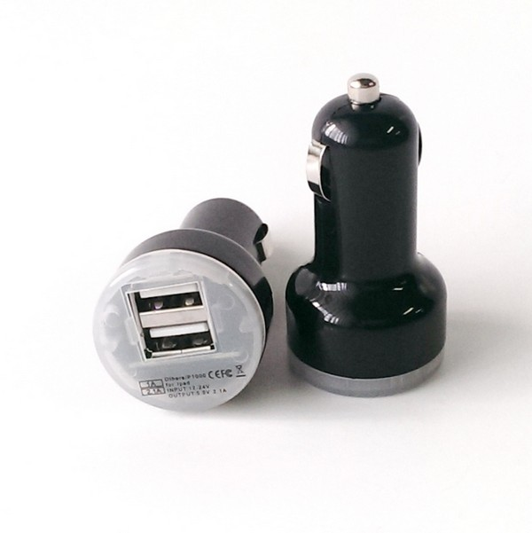USB Dual Car Charger 2 amp / 1 amp - Black