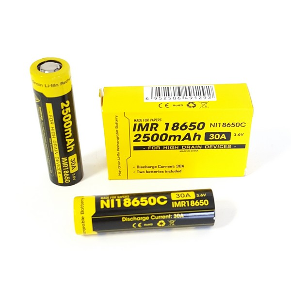 2pc Nitecore IMR 18650C 2500mAh 30A Flat Top Batteries