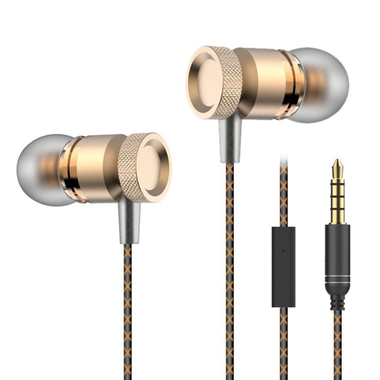In-ear Style Metal Line-control Earphone - Gold
