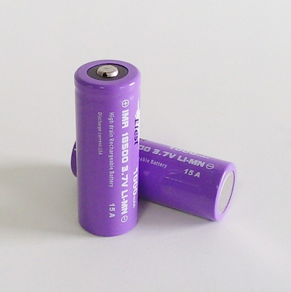 IMR 18500 1000mah Efest Battery - 15 Amp High Drain -Nipple Top