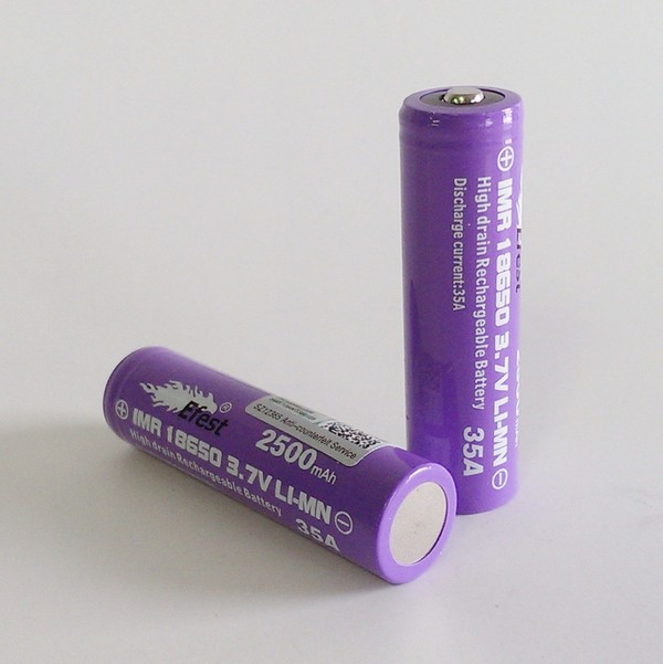 IMR 18650 2500mah Efest Battery - 35 Amp High Drain -Nipple Top