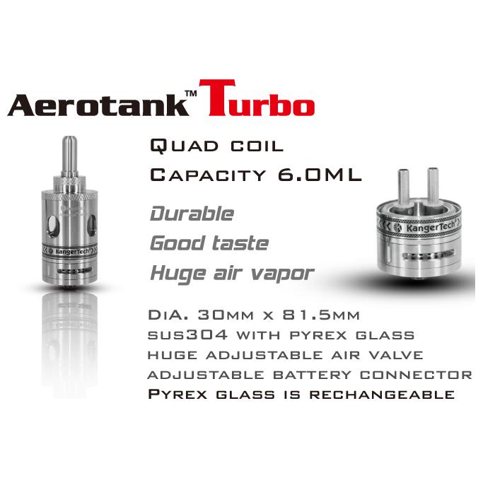 Kanger AeroTank Turbo Quad Coil Tank Set - Clear Pyrex