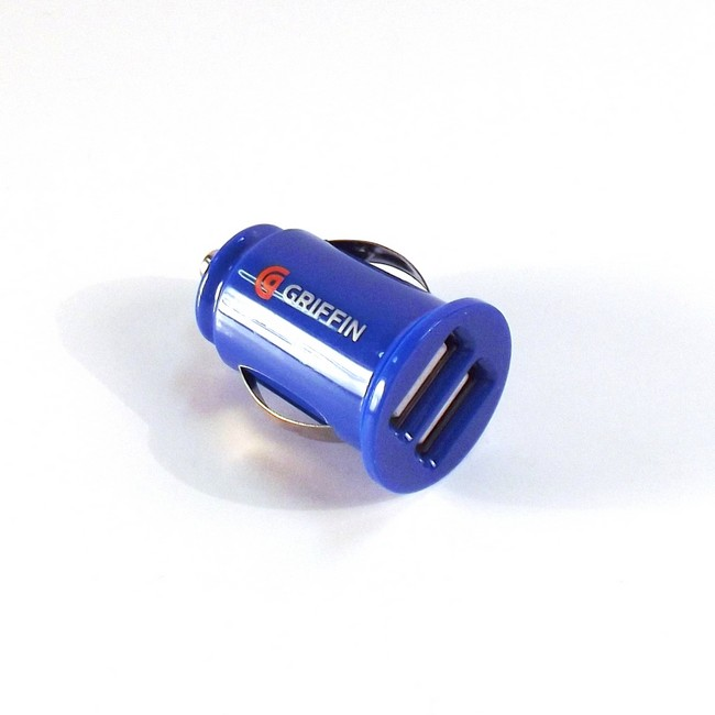 Mini Dual USB Car Charger - Blue