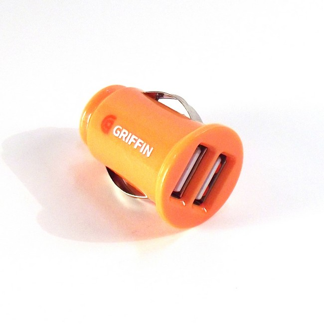 Mini Dual USB Car Charger - Orange