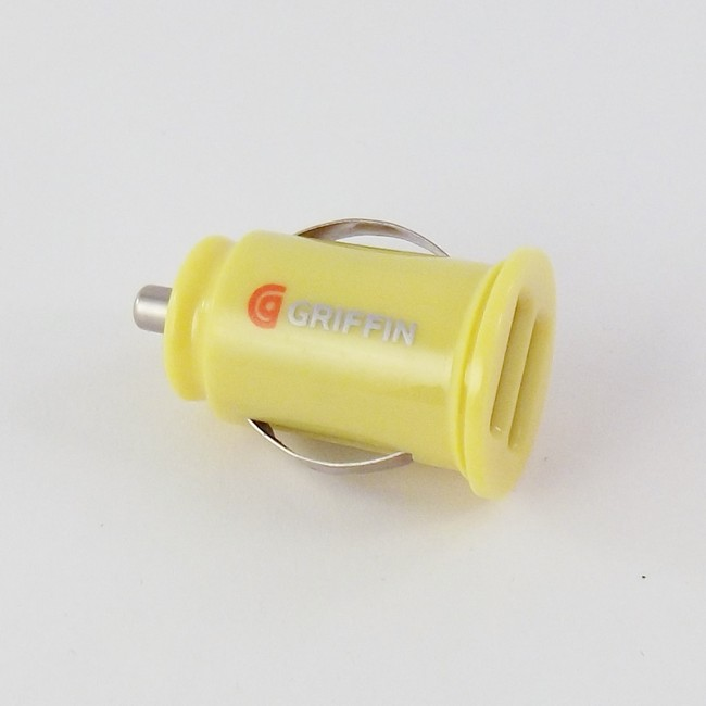 Mini Dual USB Car Charger - Yellow