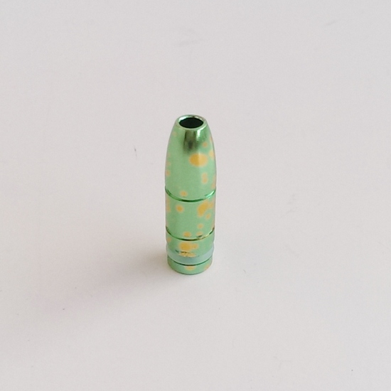 "Spattered SS Bullet ""Wide Bore"" 510 Drip Tip - Green / Gold"