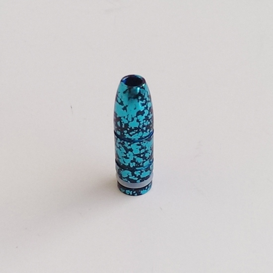 "Spattered SS Bullet ""Wide Bore"" 510 Drip Tip - Teal / Black"